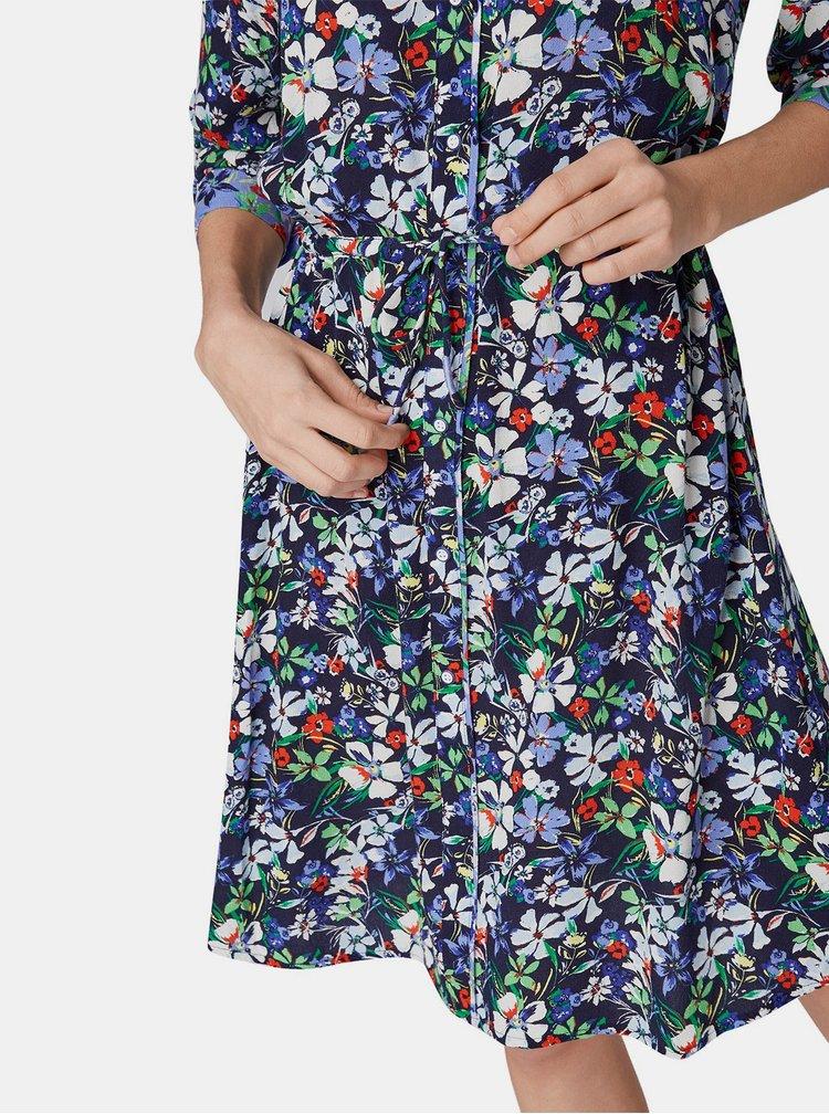 Tmavě modré květované košilové šaty Tom Tailor Denim