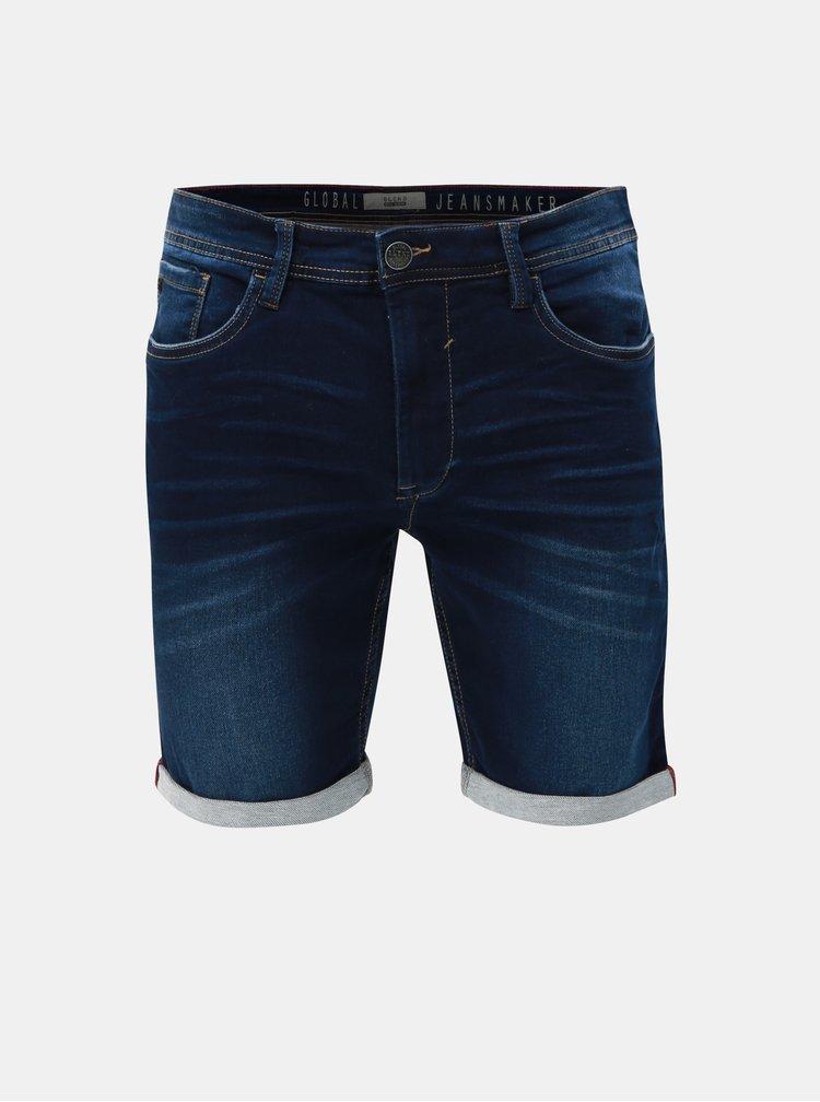Tmavě modré džínové slim fit kraťasy Blend