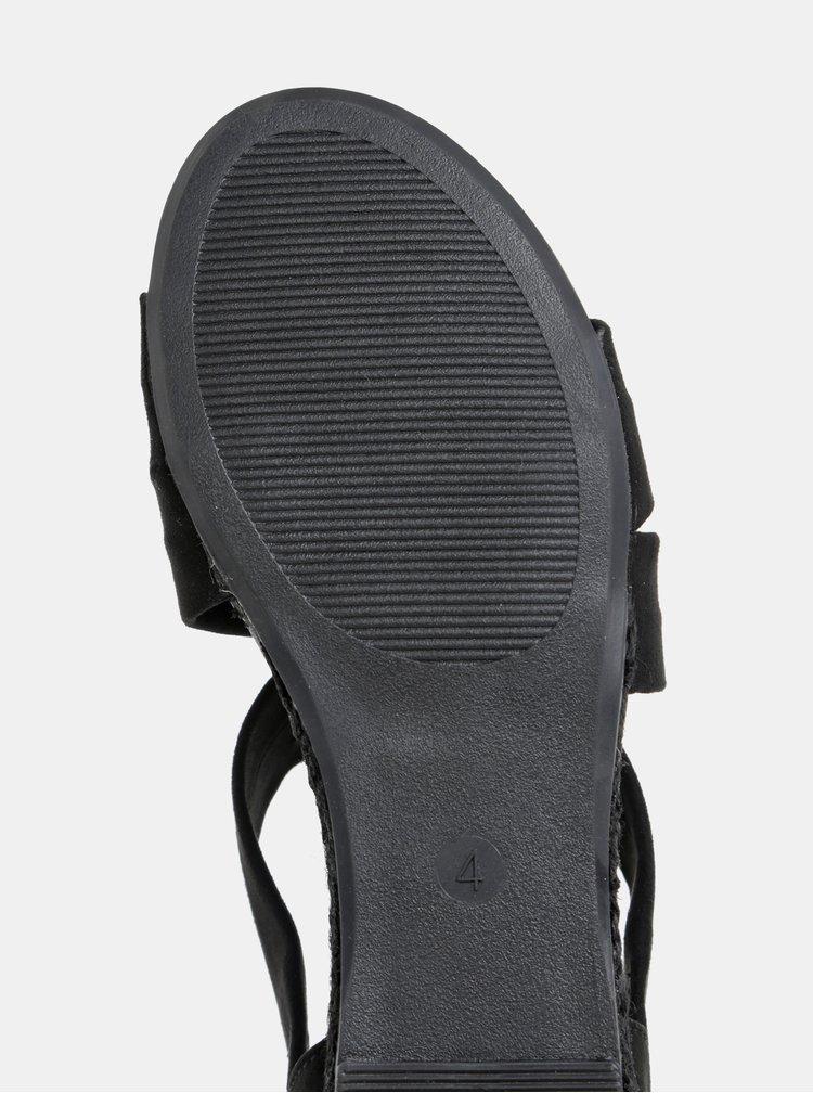 Sandale negre cu aspect de piele intoarsa Dorothy Perkins