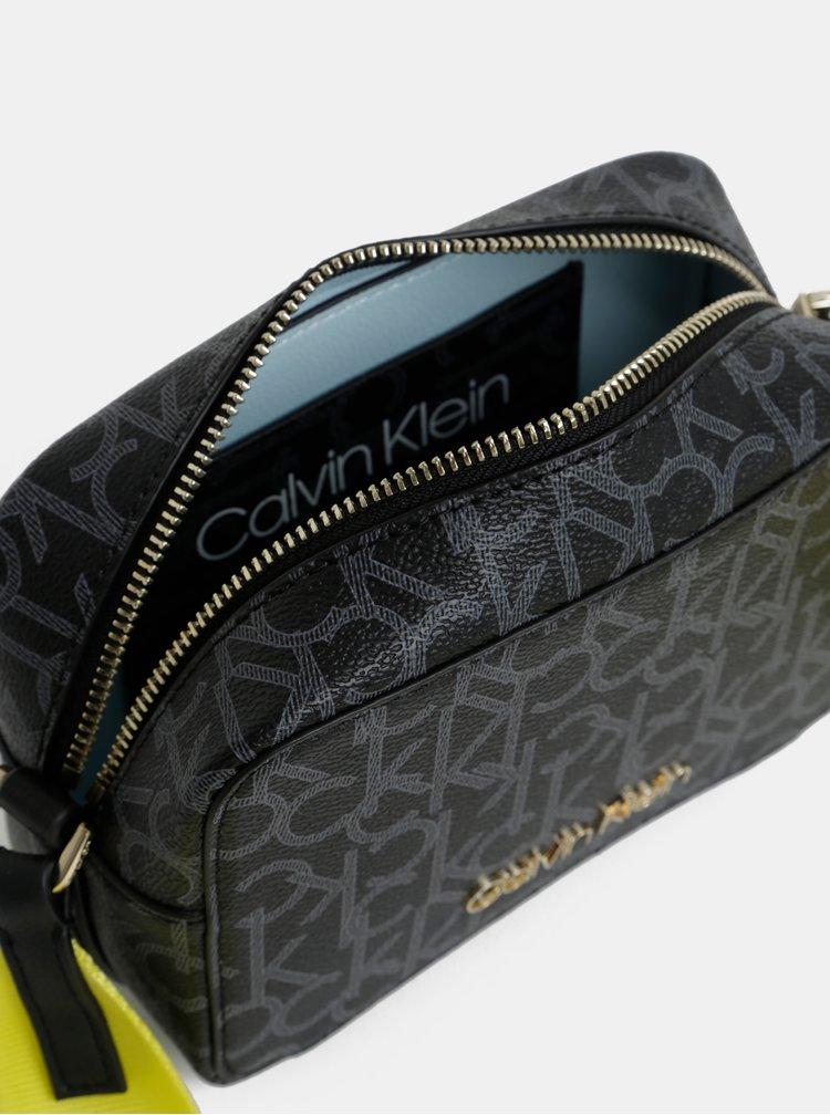 Černá vzorovaná crossbody kabelka Calvin Klein Jeans
