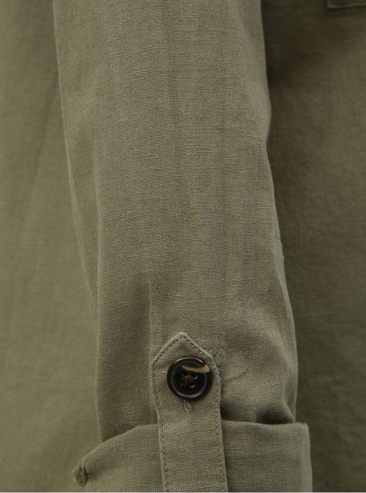 Kaki voľná košeľa s prímesou ľanu Dorothy Perkins Tall