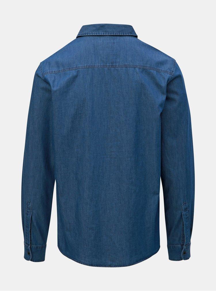 Camasa albastra din denim cu buzunar Blend