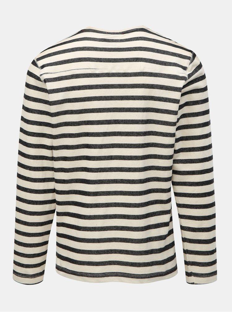 Bluza sport negru-crem in dungi cu buzunar Blend