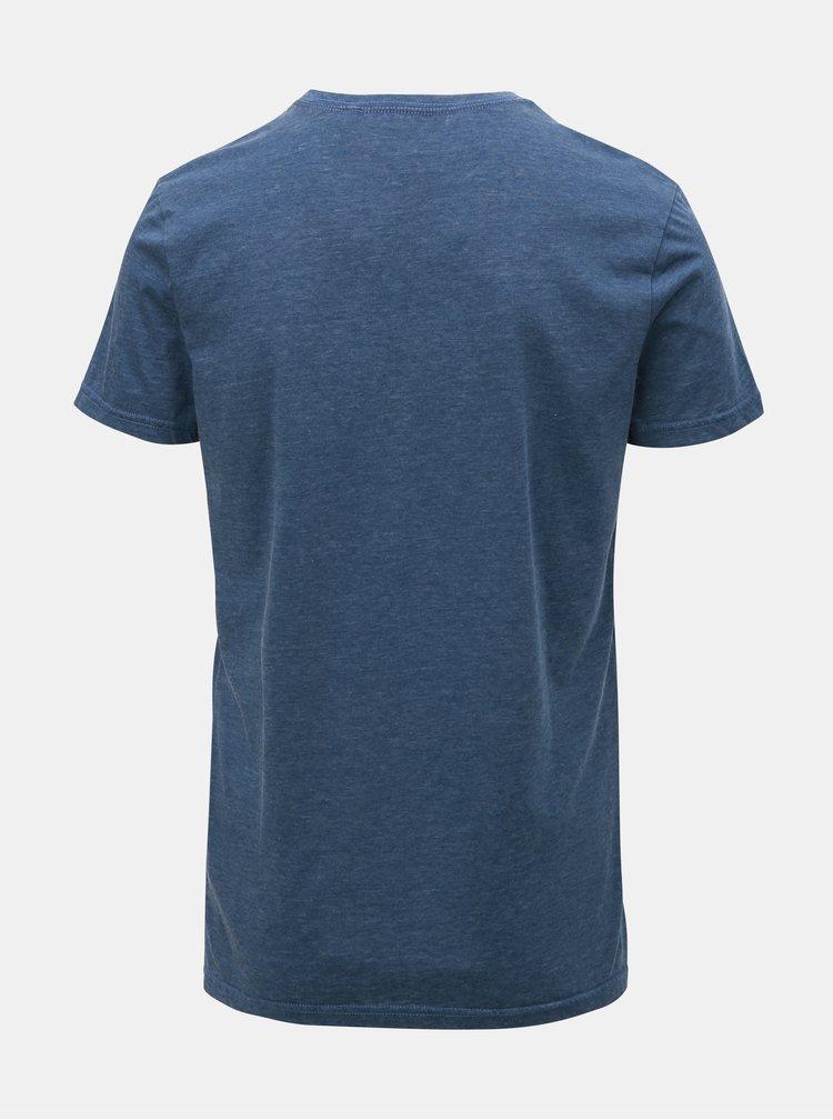 Tricou albastru melanj cu imprimeu Blend