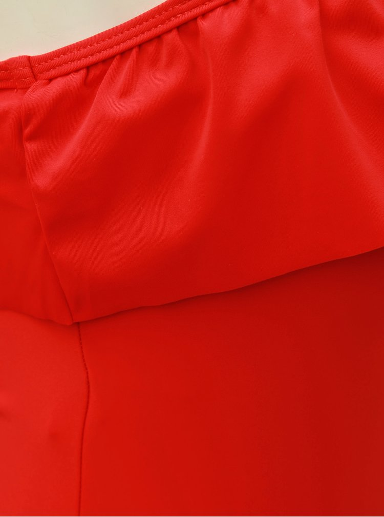 Červené jednodílné plavky s volánem Pieces Bianca