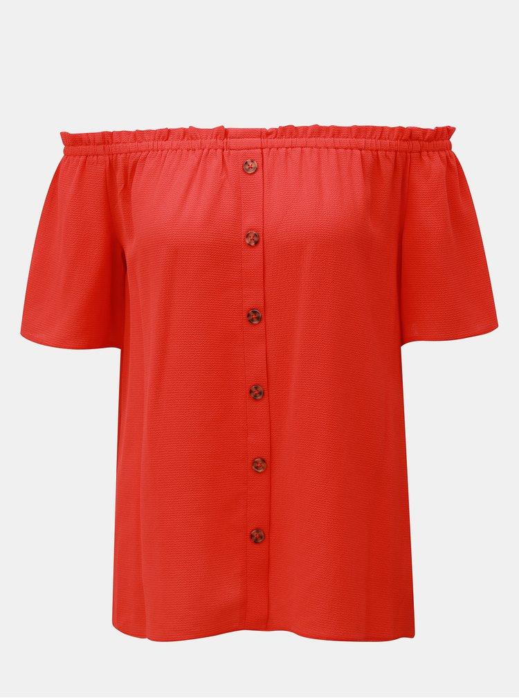 Červený top s odhalenými rameny Dorothy Perkins
