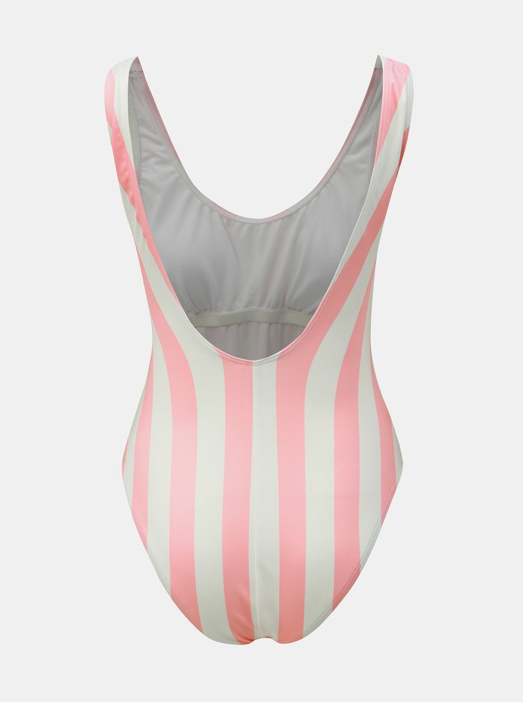 Bílo-růžové pruhované jednodílné plavky Pieces Bea