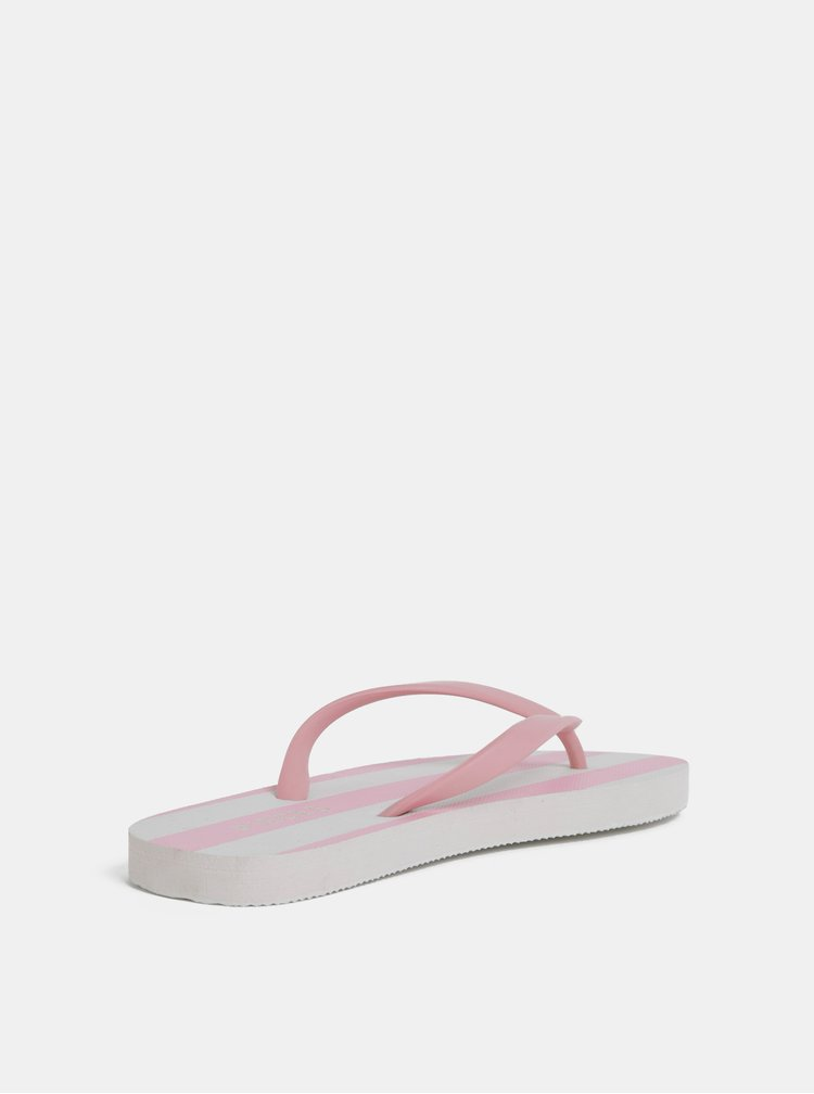 Papuci flip-flop alb-roz in dungi Pieces Blair