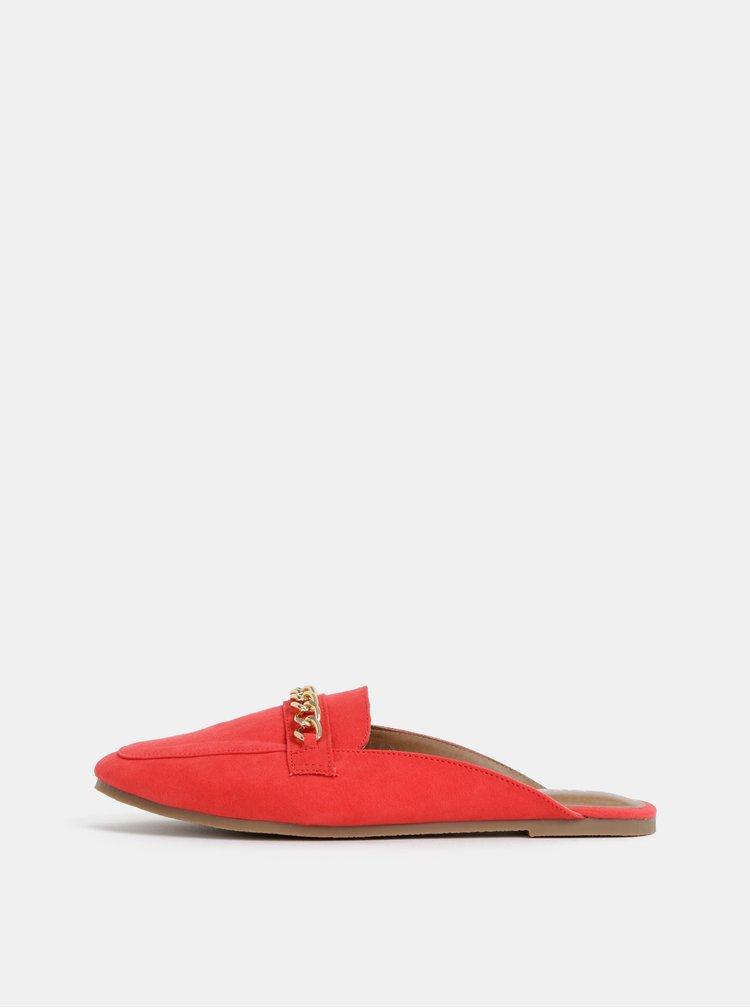 Papuci rosii cu aspect de piele intoarsa si detaliu decorativ Pieces Cecilia