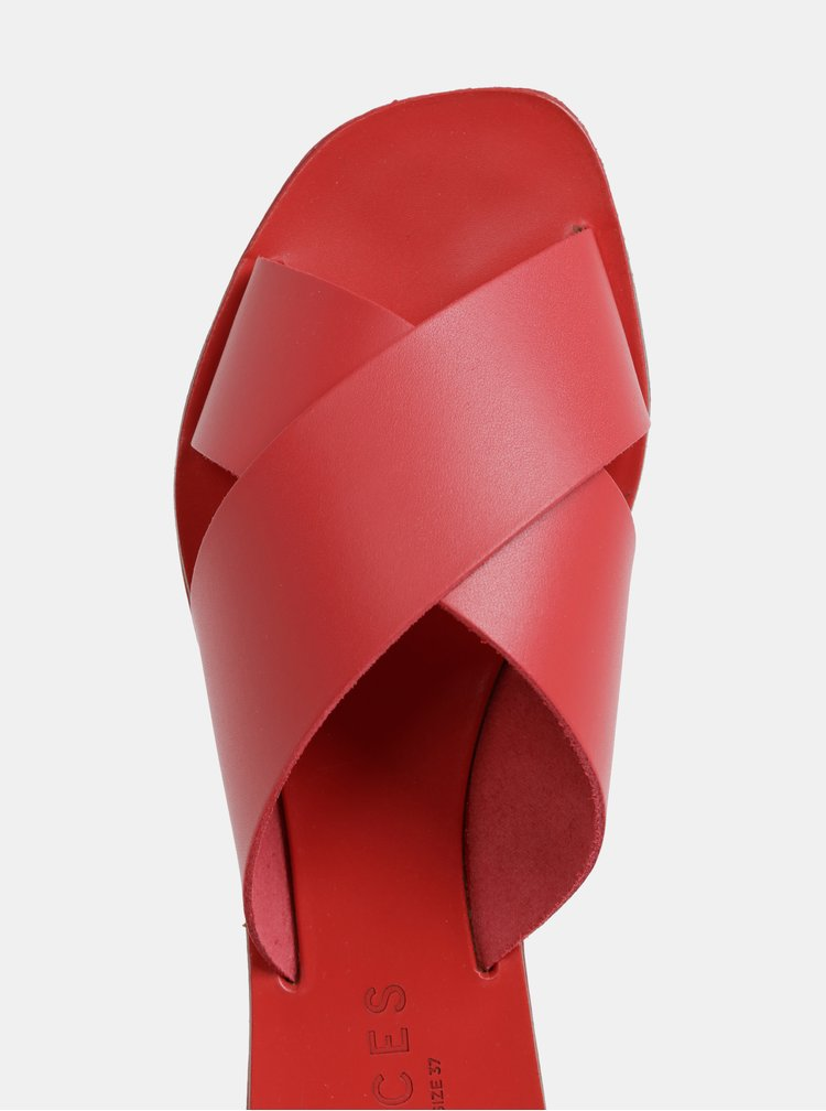 Červené kožené pantofle Pieces Chara