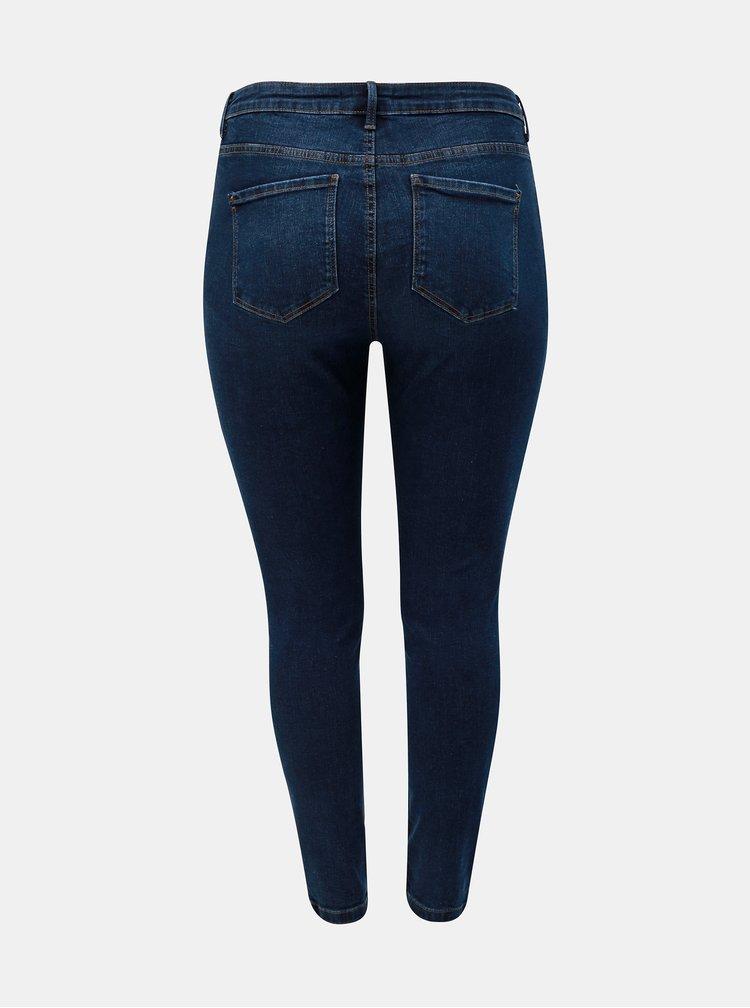 Tmavě modré skinny fit džíny s potrhaným efektem Dorothy Perkins Curve Darcy