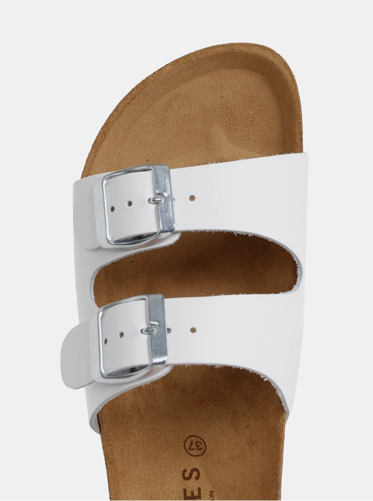 Bílé kožené pantofle Pieces Coco