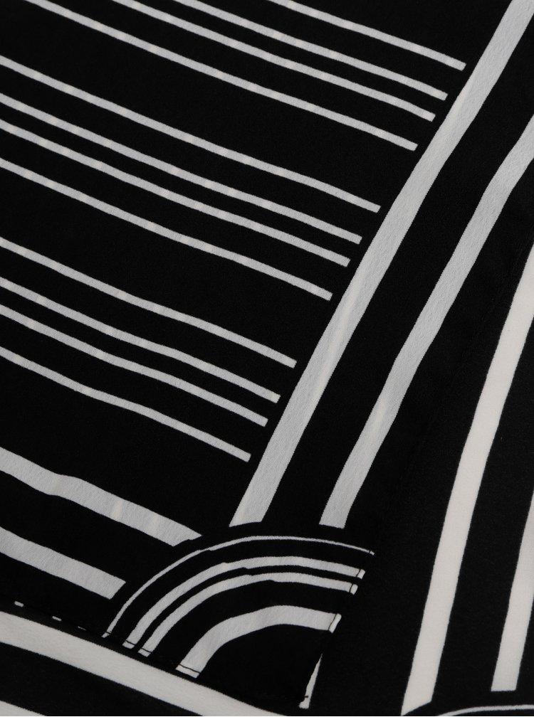 Esarfa negru-alb in dungi Pieces Carol