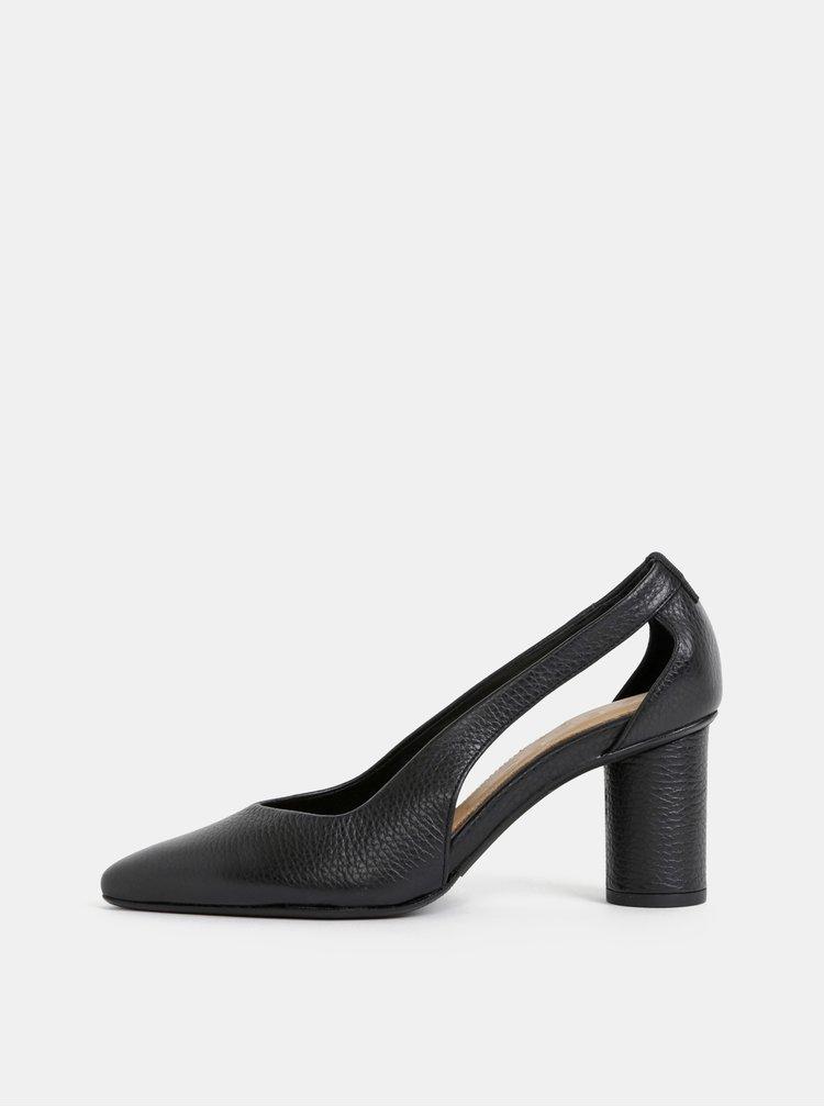 Černé kožené lodičky Selected Femme Falex