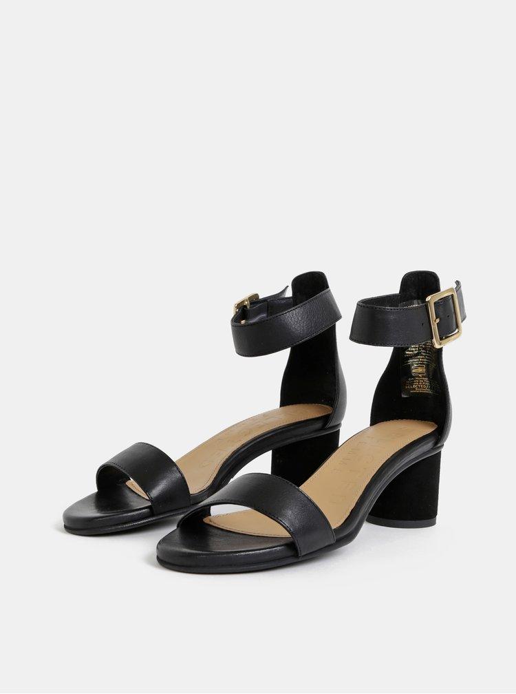 Sandale negre din piele Selected Femme Merle