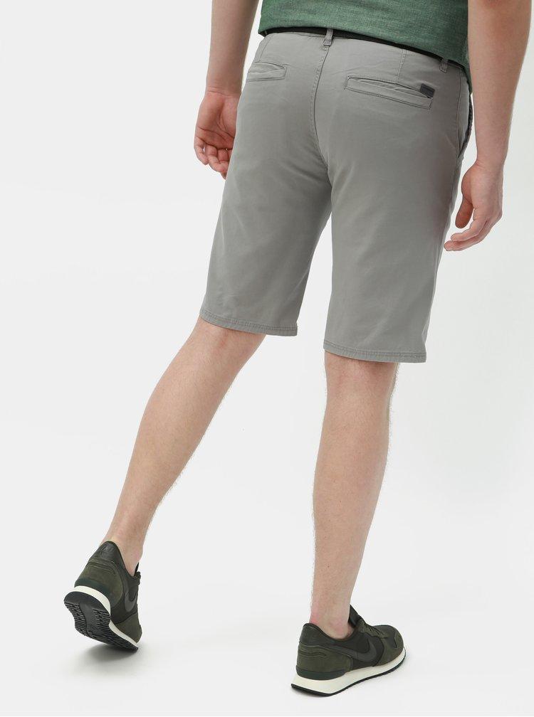 Pantaloni scurti gri slim fit cu curea Lindbergh
