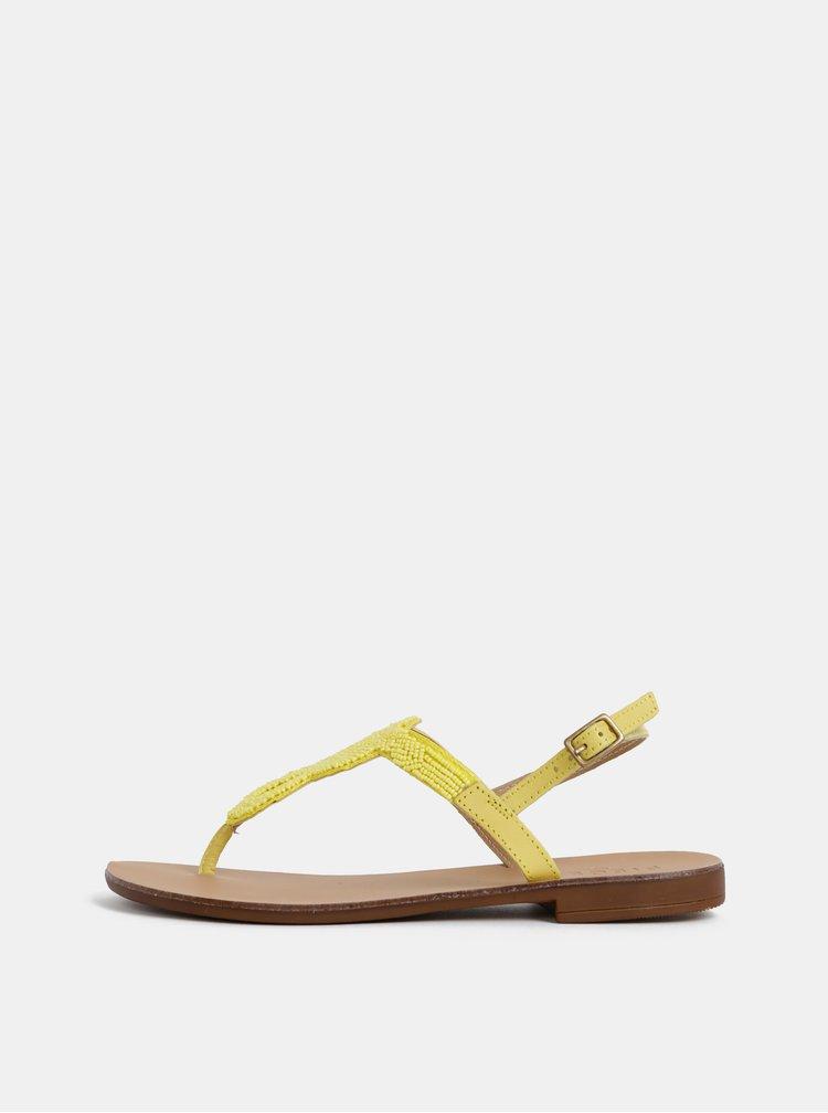 Sandale galbene din piele cu margele Pieces Carmensia