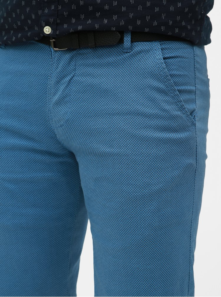Pantaloni scurti albastri slim fit cu model si curea Lindbergh