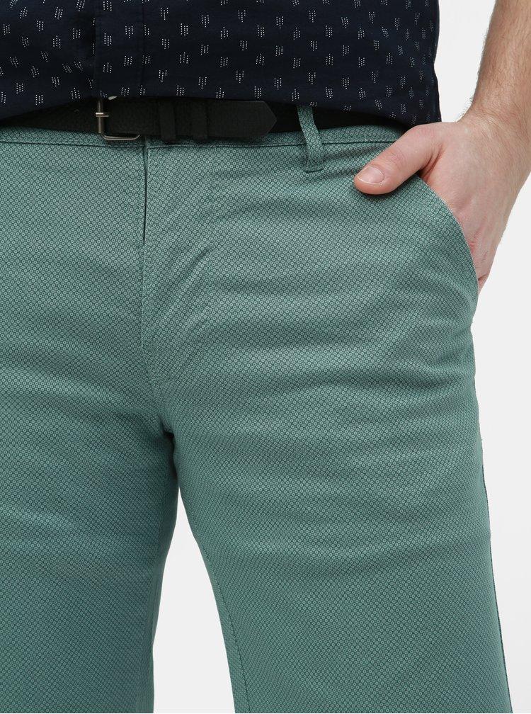 Zelené vzorované slim fit kraťasy s opaskom Lindbergh