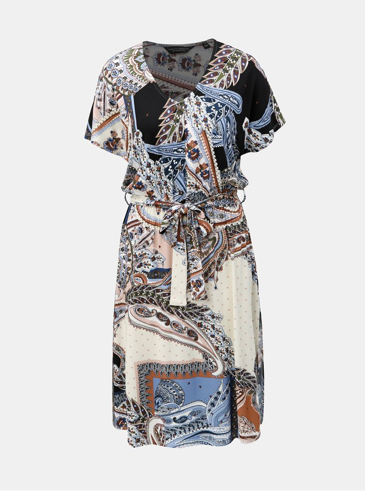 Modro–krémové vzorované šaty s rozparkami Dorothy Perkins