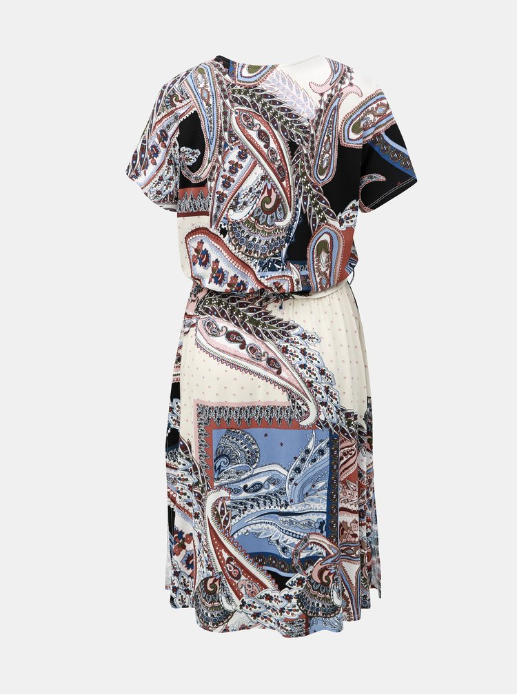 Modro-krémové vzorované šaty s rozparky Dorothy Perkins