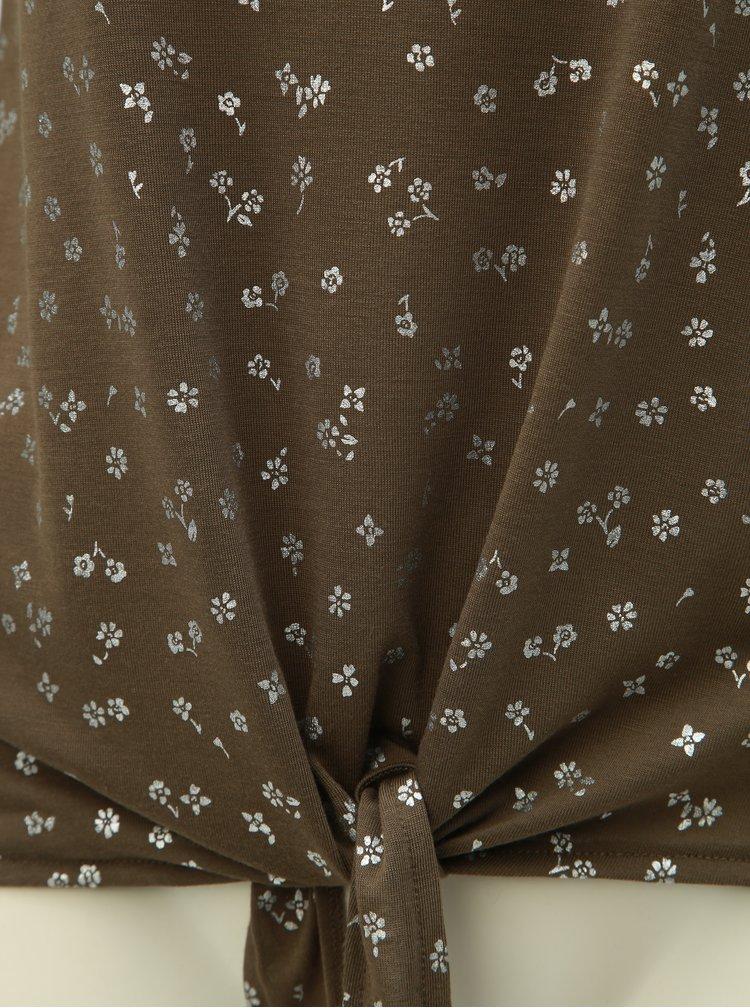 Tricou kaki floral cu nod ONLY Isabella