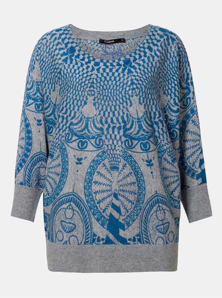 Modro–sivý vzorovaný sveter s prímesou ľanu Desigual Lisburn