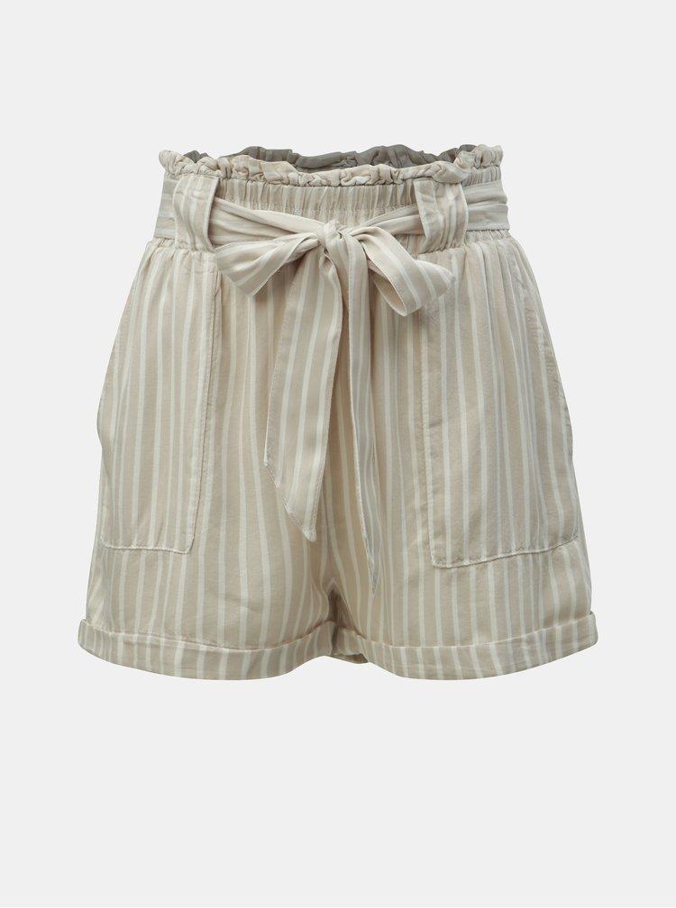 Pantaloni scurti bej in dungi cu talie inalta ONLY Manhattan