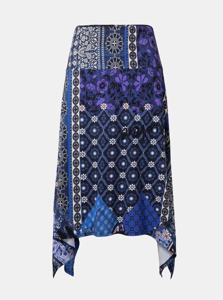 Tmavě modrá vzorovaná sukně Desigual Katherine