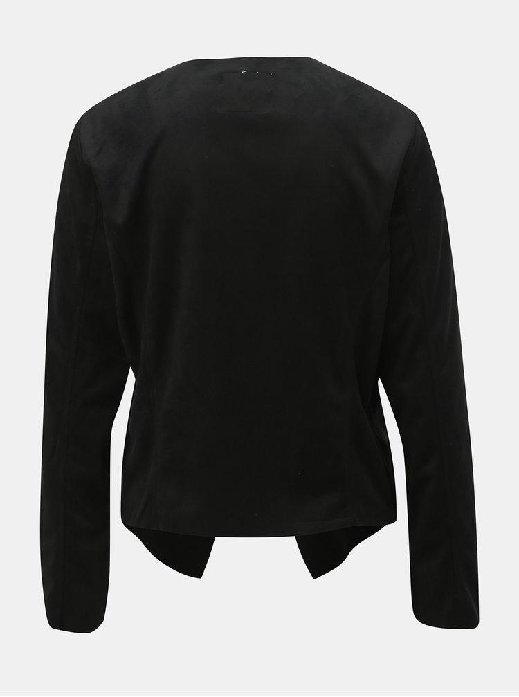 Čierne sako v semišovej úprave Jacqueline de Yong Judy