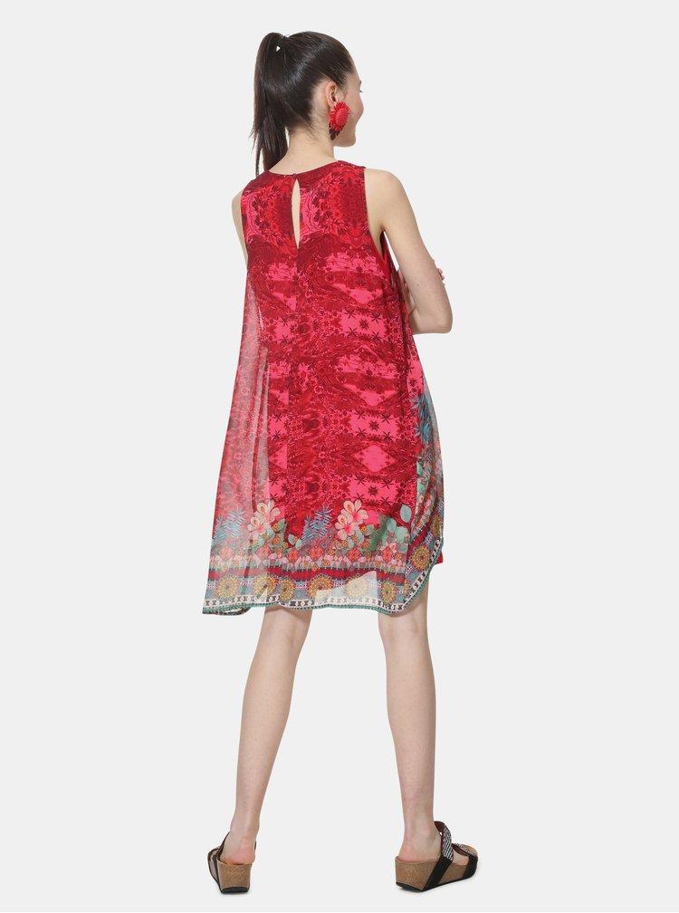 Tmavoružové vzorované šaty Desigual Monique
