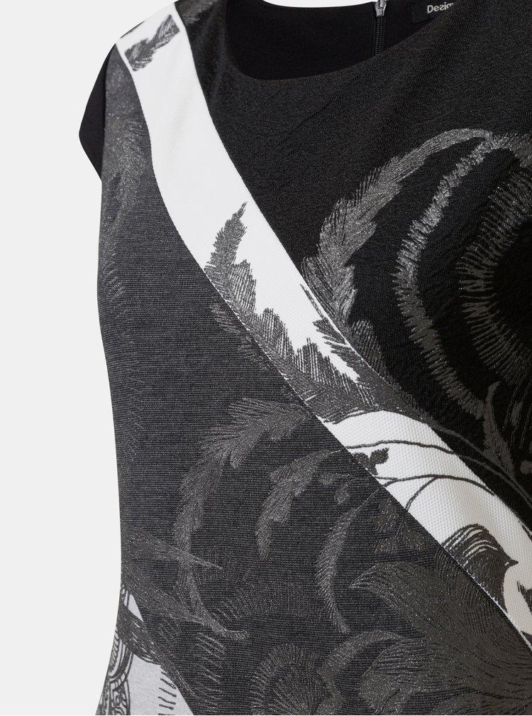 Sivo–čierne vzorované puzdrové šaty Desigual Mojaves