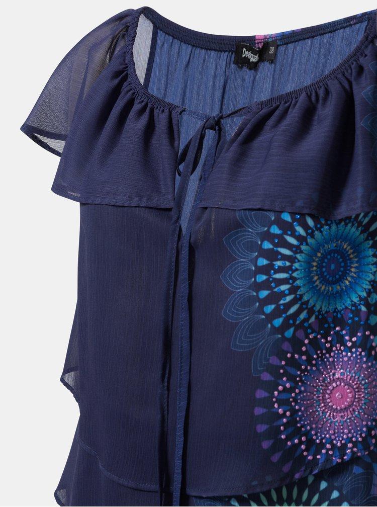 Tmavomodrá vzorovaná blúzka s odhalenými ramenami Desigual Clarie