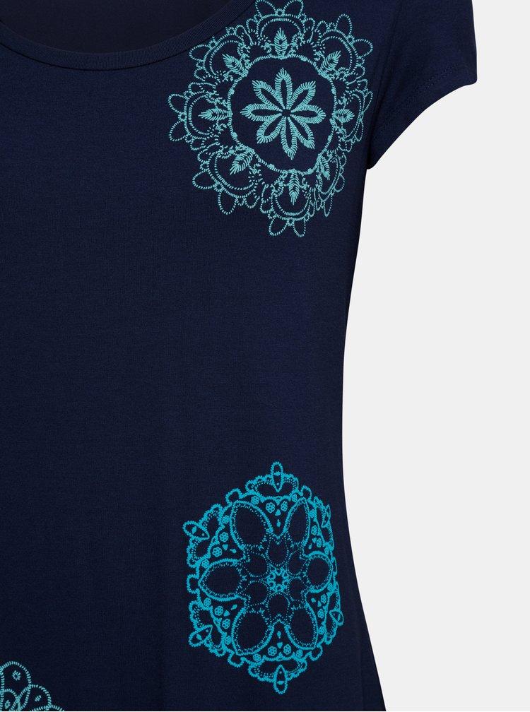Tmavomodré tričko s potlačou Desigual Sonja