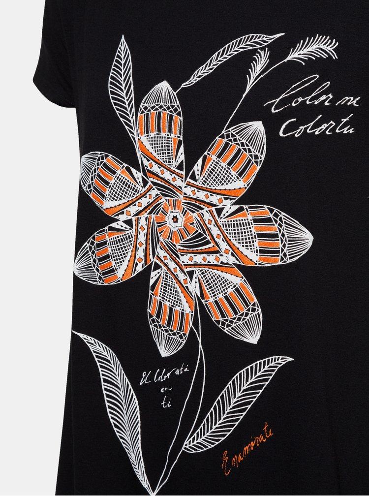 Tricou negru cu imprimeu si insertie Desigual Apaches
