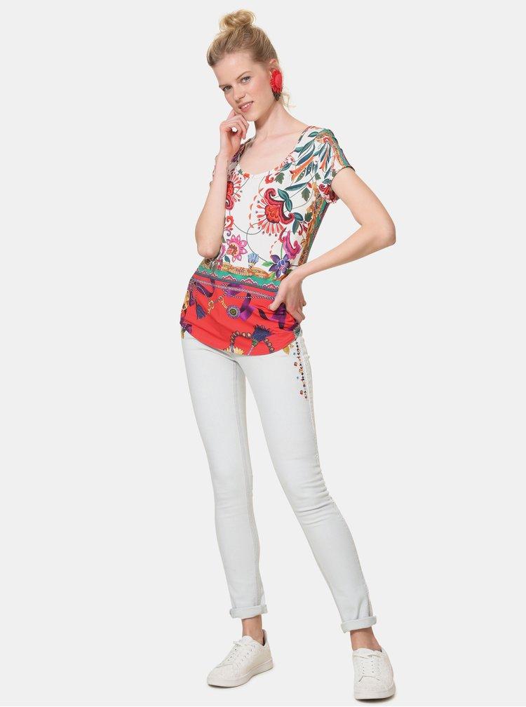 Bílé květované tričko Desigual Leonor