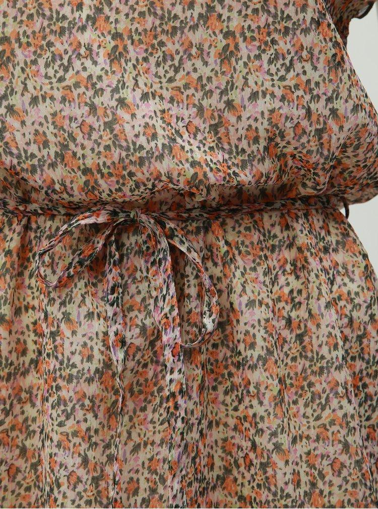 Zeleno-oranžové květované šaty Jacqueline de Yong Jennifer
