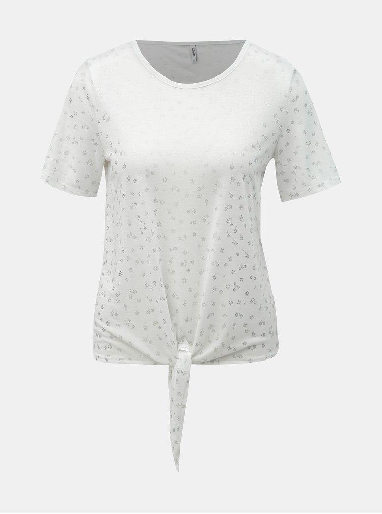 Bílé květované tričko s uzlem ONLY Isabella