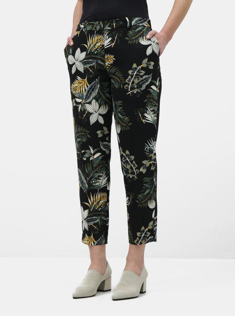Čierne skrátené kvetované nohavice Dorothy Perkins