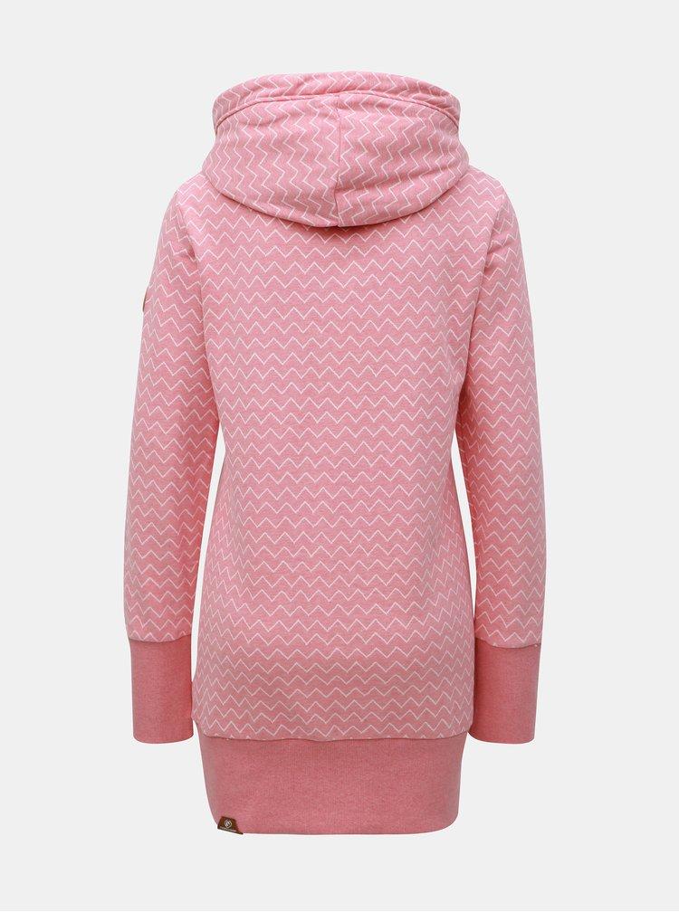 Hanorac lung roz de dama cu model Ragwear Lilah Zig Zag