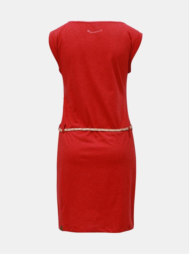 Červené šaty s opaskom Ragwear Slavka