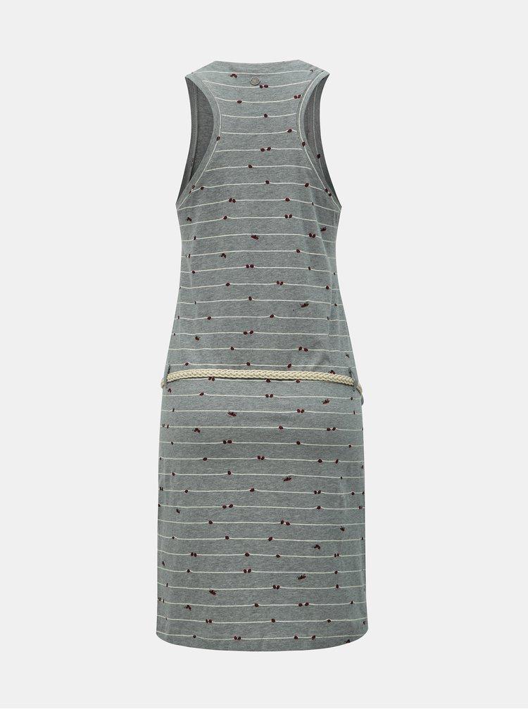 Sivé vzorované šaty s opaskom Ragwear Kesy B Organic