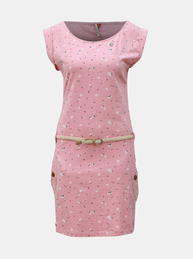 Růžové vzorované šaty s páskem Ragwear Tag Berries