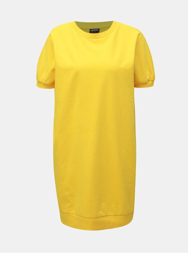 Žluté mikinové basic šaty Noisy May