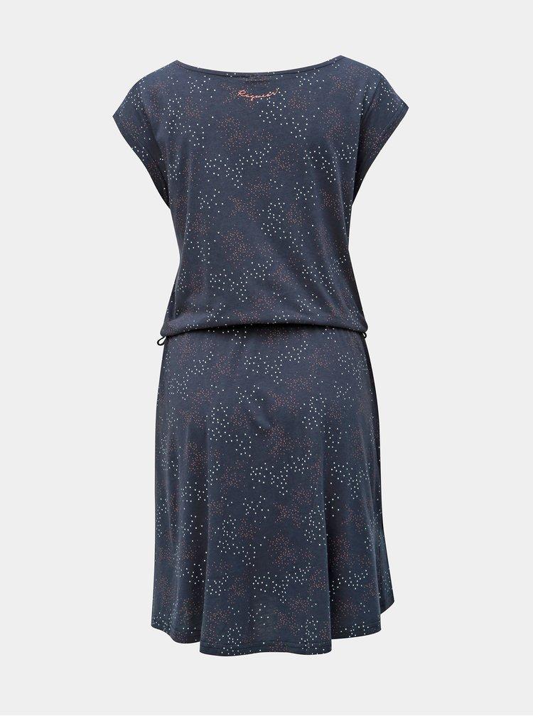 Tmavomodré vzorované šaty s opaskom Ragwear Zephire