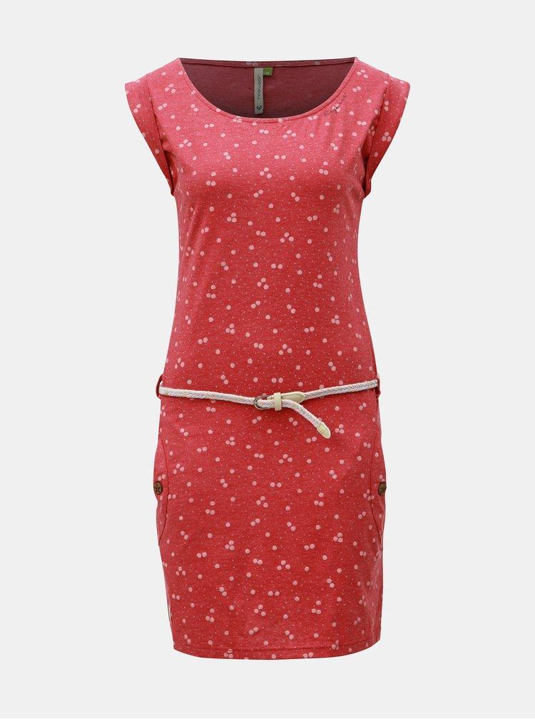 Červené vzorované šaty s opaskom Ragwear Tag