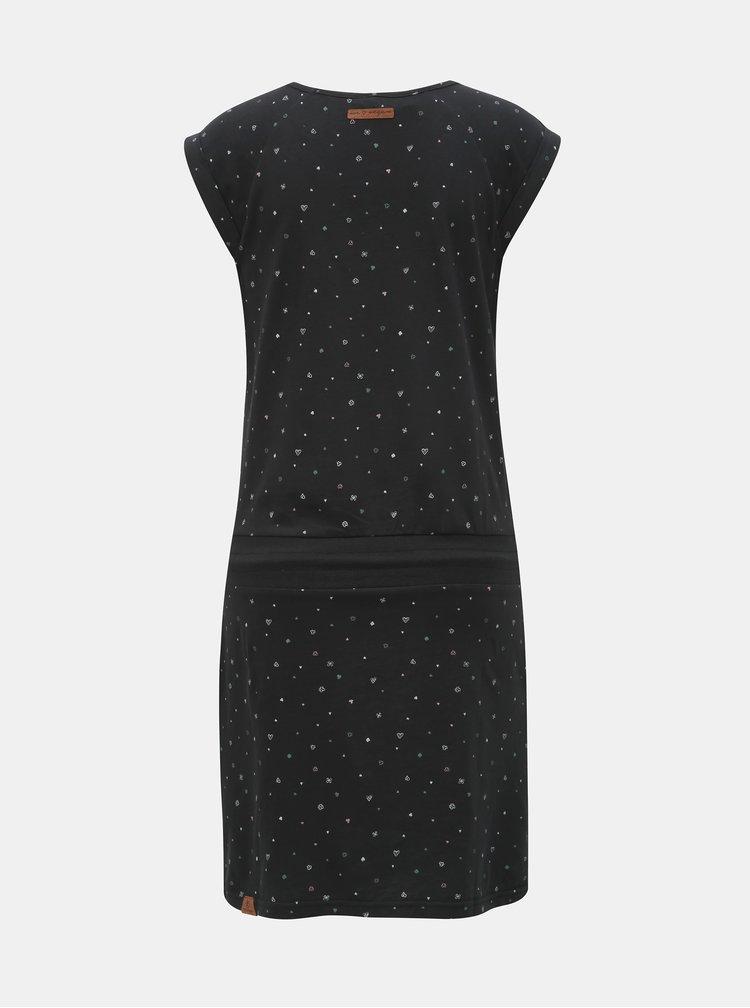 Černé vzorované šaty se zavazováním Ragwear Penelope