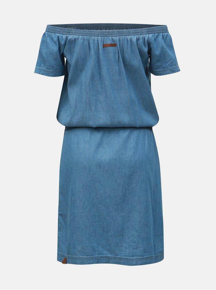 Modré džínové šaty s odhalenými rameny Ragwear Everly Denim