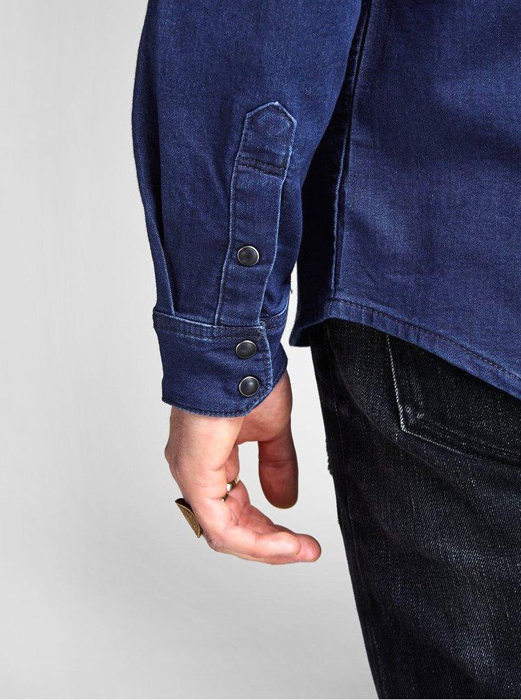 Tmavomodrá rifľová košeľa Jack & Jones Ethan