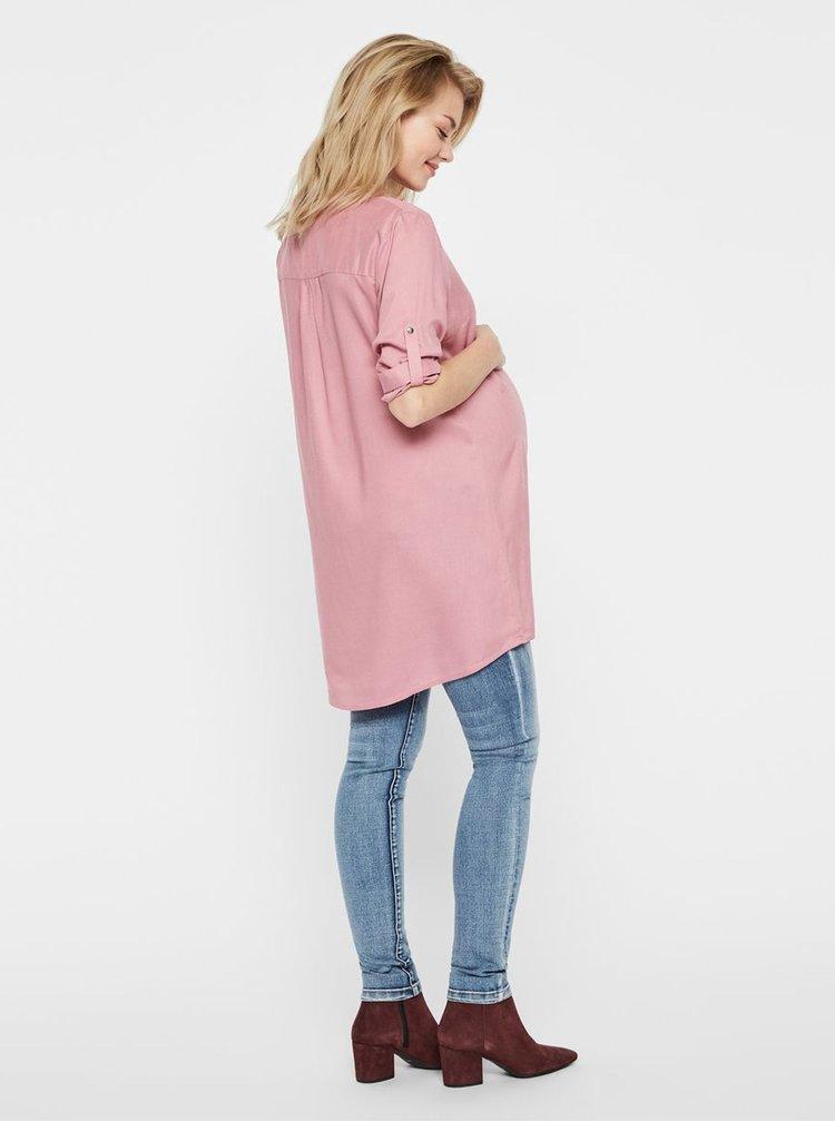 Růžová těhotenská tunika s 3/4 rukávem Mama.licious Mercy